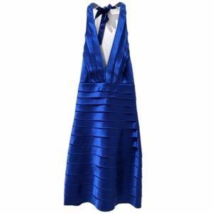 BCBGMaxAzria Laser Cut Satin Halter Dress Blue 2